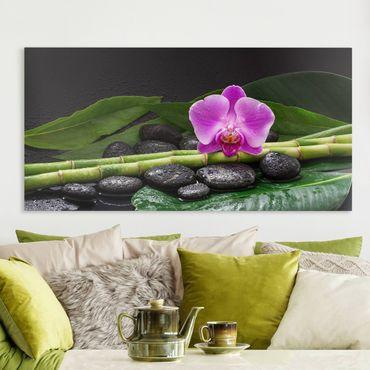 Stampa su tela - Green Bamboo Con L'orchidea Blossom - Orizzontale 1:2