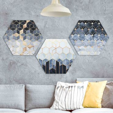 Esagono in Alu-dibond - Elisabeth Fredriksson - Blu Bianco Oro esagonale Set