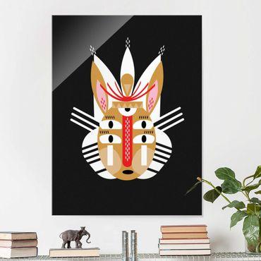 Quadro in vetro - Collage Mask Ethnic - Coniglio - Verticale 4:3