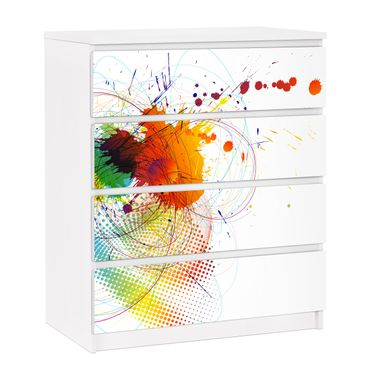 Carta adesiva per mobili IKEA - Malm Cassettiera 4xCassetti - Rainbow Background