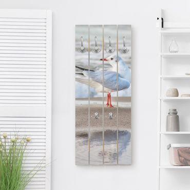 Appendiabiti in legno - Gabbiano Sulla Spiaggia Di Fronte Al Mare - Ganci cromati - Verticale