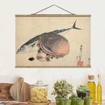 Foto su tessuto da parete con bastone - Katsushika Hokusai - Conchiglie sgombro e del mare - Orizzontale 2:3