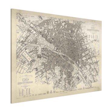 Lavagna magnetica - Vintage mappa di Parigi - Formato orizzontale 3:4