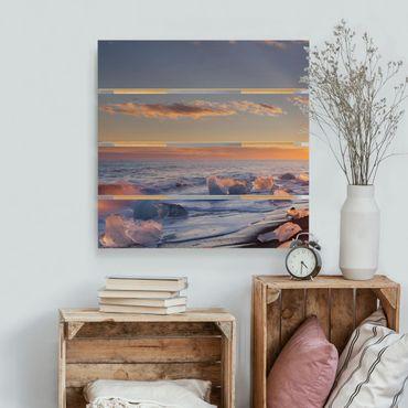 Stampa su legno - Pezzi di ghiaccio Sulla Spiaggia Islanda - Quadrato 1:1