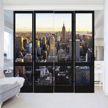 Tende scorrevoli set - Window View At Night Over New York