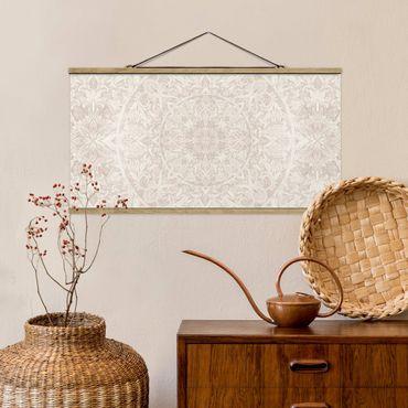 Foto su tessuto da parete con bastone - Mandala acquerelli ornamento Beige - Orizzontale 1:2
