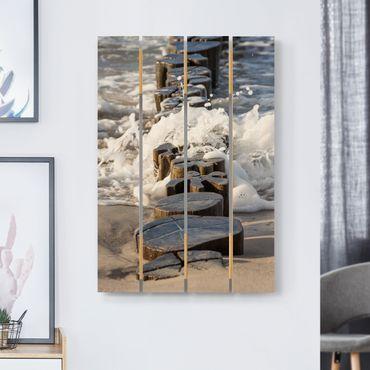 Stampa su legno - Frangiflutti sulla spiaggia - Verticale 3:2