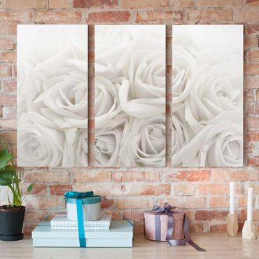 Stampa su tela 3 parti - White Roses - Verticale 2:1