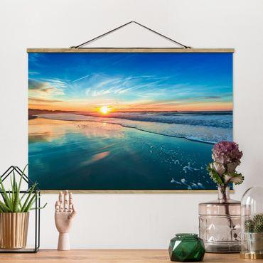 Foto su tessuto da parete con bastone - Romantico tramonto sul mare - Orizzontale 2:3