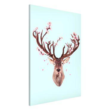 Lavagna magnetica - Cervo con Cherry Blossoms - Formato verticale 2:3