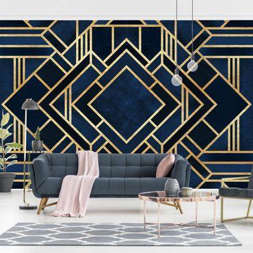 Carta da parati - Art Deco oro- Formato quadrato