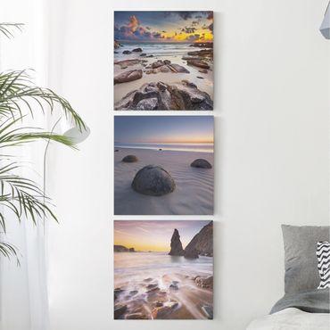 Stampa su tela 3 parti - Sunrises On The Beach - Quadrato 1:1