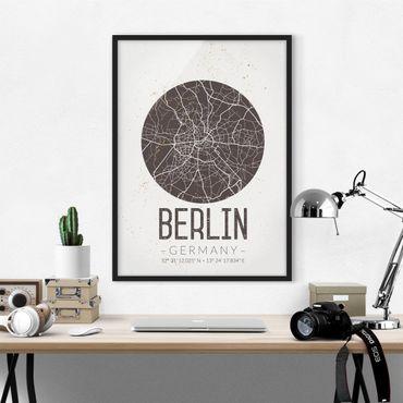 Poster con cornice - Berlin City Map - Retro - Verticale 4:3
