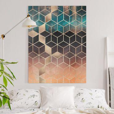 Quadri su tela - Turchese Rosa d'Oro Geometria