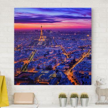 Stampa su tela - Parigi di notte - Quadrato 1:1