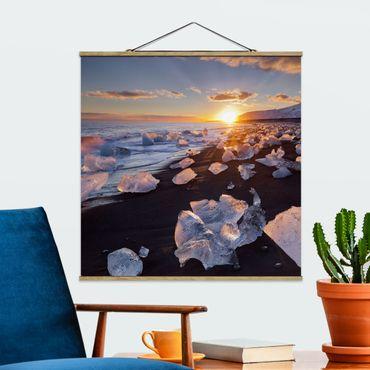 Foto su tessuto da parete con bastone - Pezzi di ghiaccio Sulla Spiaggia Islanda - Quadrato 1:1