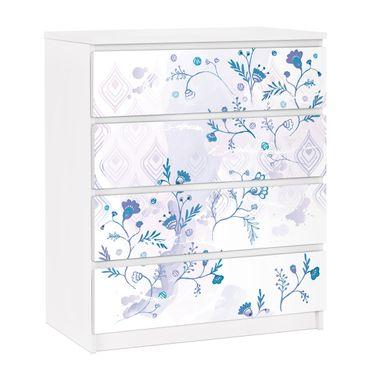 Carta adesiva per mobili IKEA - Malm Cassettiera 4xCassetti - Blue Fantasy Pattern