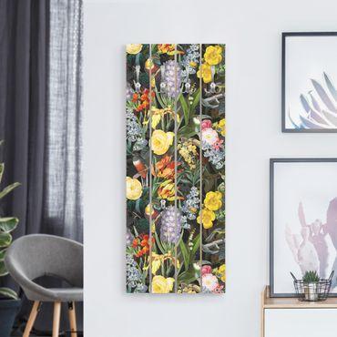 Appendiabiti in legno - Fiori Con Tropical Birds Stained - Ganci cromati - Verticale