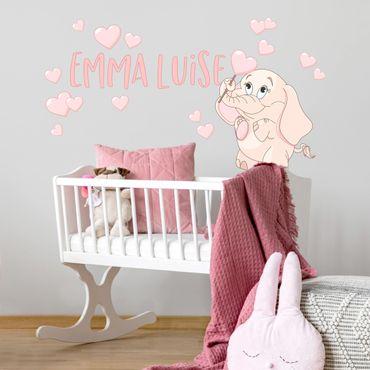 Adesivo murale bambini - Elefantina rosa con cuori e nome personalizzato