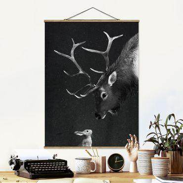 Foto su tessuto da parete con bastone - Laura Graves - Illustrazione Cervi E coniglio pittura Bianco e nero - Verticale 4:3