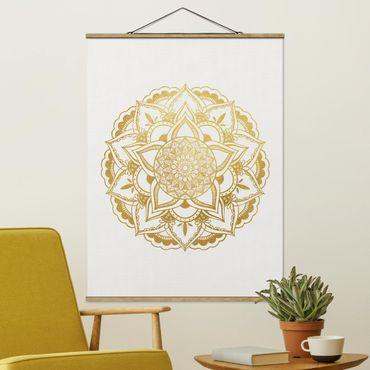 Foto su tessuto da parete con bastone - Mandala Illustrazione ornamento oro bianco - Verticale 4:3