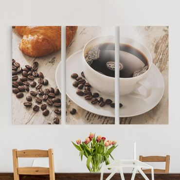 Stampa su tela 3 parti - Steaming coffee cup with coffee beans - Verticale 2:1