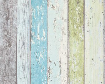 Carta da parati - A.S. Création Best of Wood`n Stone 2nd Edition in Blu Verde Bianco