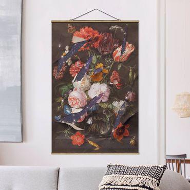 Foto su tessuto da parete con bastone - Fiori Con Galaxy - Verticale 3:2