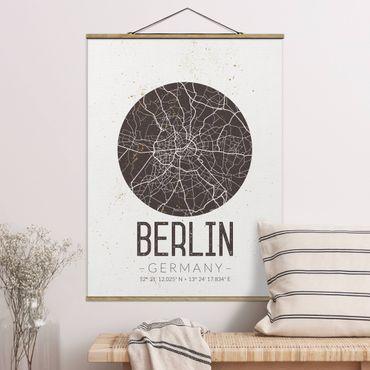 Foto su tessuto da parete con bastone - Mappa Berlino - Retro - Verticale 4:3