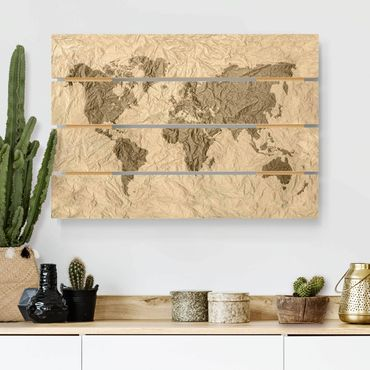 Stampa su legno - Paper World Map Beige Marrone - Orizzontale 2:3