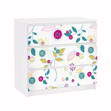 Carta adesiva per mobili IKEA - Malm Cassettiera 3xCassetti - Flowers cocktail