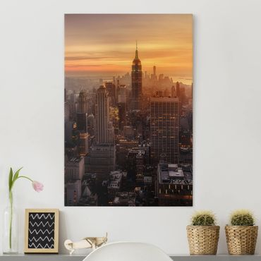 Stampa su tela - Manhattan Skyline Evening - Verticale 3:4