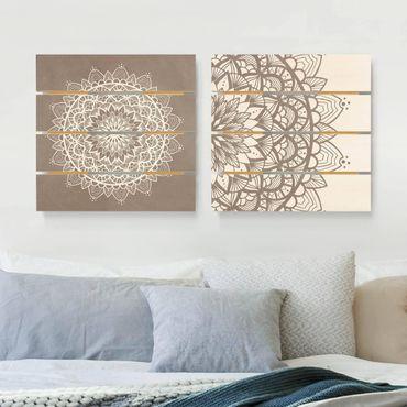 Quadro in legno effetto pallet - Mandala Illustrazione Shabby Set Beige Bianco - Quadrato 1:1