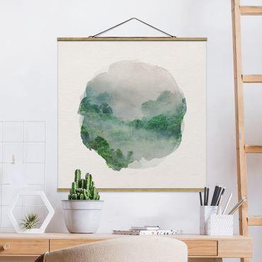 Quadro su tessuto con stecche per poster - Acquarelli - giungla nella nebbia - Quadrato 1:1