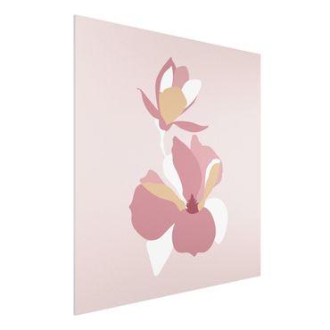 Stampa su Forex - Line Art Fiori rosa pastello - Quadrato 1:1