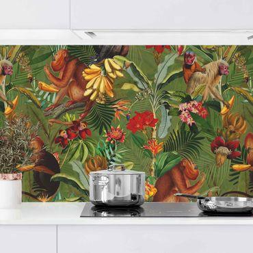 Rivestimento cucina - Fiori tropicali con Scimmie