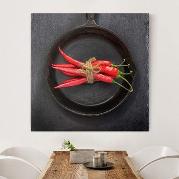 Stampa su tela - Red Chili Fasci in padella su Slate - Quadrato 1:1