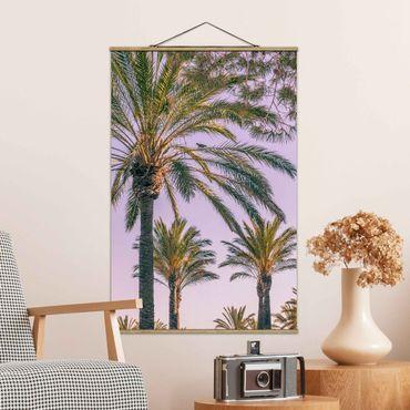 Foto su tessuto da parete con bastone - Palme Nel Tramonto - Verticale 3:2