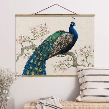 Foto su tessuto da parete con bastone - Vintage Pavone con Cherry Blossoms - Orizzontale 3:4