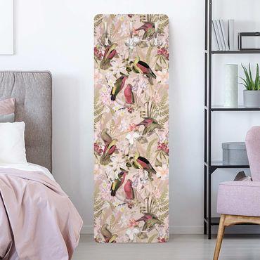 Appendiabiti - Uccelli rosa pastello con i fiori