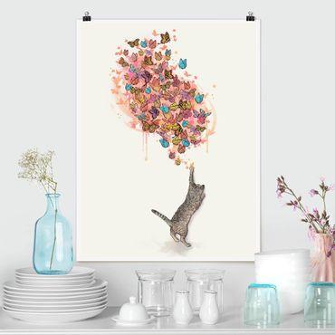 Poster - Illustrazione del gatto con farfalle colorate Pittura - Verticale 4:3