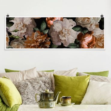 Poster - Red Rose con rose bianche - Panorama formato orizzontale