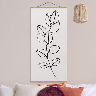 Quadro su tessuto con stecche per poster - Line Art filiale fogli Bianco e nero - Verticale 2:1