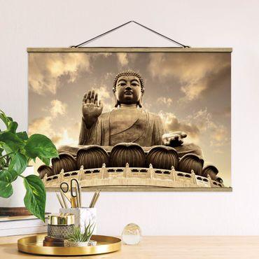 Foto su tessuto da parete con bastone - Big Buddha Seppia - Orizzontale 2:3