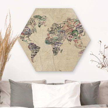 Esagono in legno - Timbro del passaporto Mappa del mondo