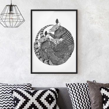 Poster con cornice - Illustrazione del modello Armadillos Bianco e nero - Verticale 4:3