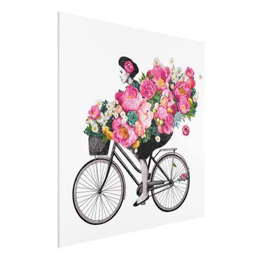 Stampa su Forex - Illustrazione Donna in bicicletta Collage fiori variopinti - Quadrato 1:1