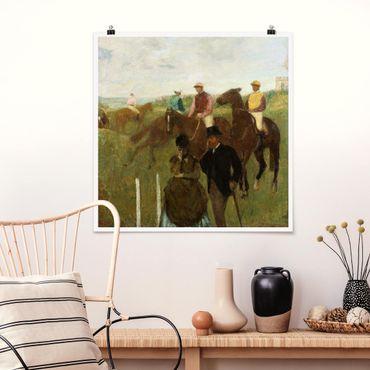 Poster - Edgar Degas - Jockeys in pista - Quadrato 1:1