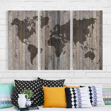 Stampa su tela 3 parti - Wood World Map - Verticale 2:1