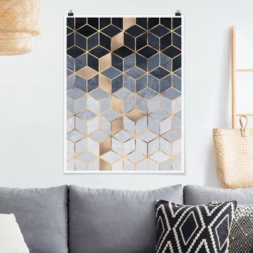 Poster - Bianco d'oro Geometria Blu - Verticale 4:3